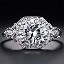 Aimys Vintage 2.6CT White Topaz 925 Silver Cubic Zirconia CZ Bridal & Engagement Ring Sizes 5 to 10 (7)
