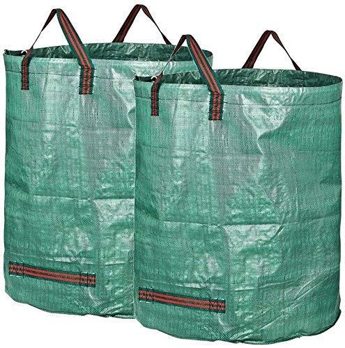 NMDD Bolsa de jardinería, Bolsas de Basura de jardín 2 uds.272 L H77 cm, D67 cm Sacos de Basura Impermeables para Basura con Asas Bolsas de Hierba de Hojas Resistentes al desgarro (Tamaño: 2 uds.