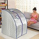 1000W, Sauna Portatile, Sauna a infrarossi, 4 piastre riscaldanti a infrarossi + 36 pietre di tormalina (argento)