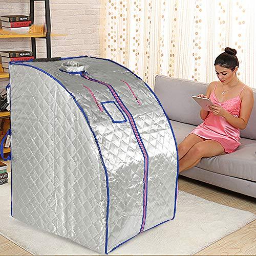 1000W, Sauna infrarroja Portable, Sauna Terapéutica Personal Infrarroja, 4 placas calefactoras infrarrojas + 36 piedras de turmalina (Plata)