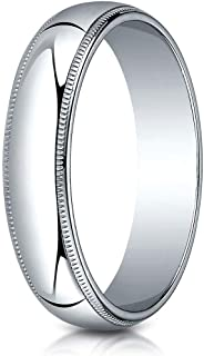 14K Gold, 18K Gold or Platinum 5MM Slightly Domed Traditional Oval Wedding Band With Milgrain, Men's or Women's
