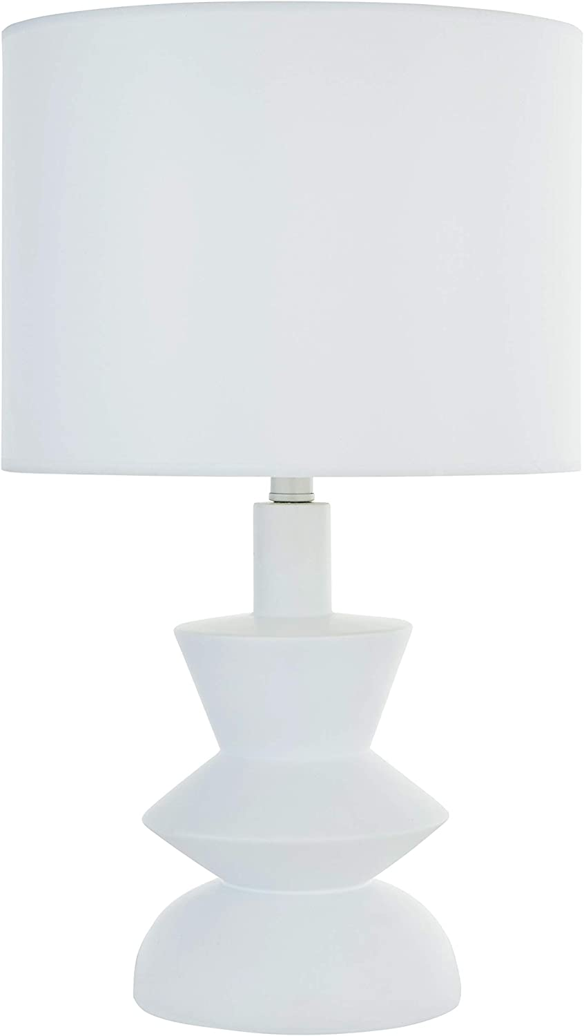 Rivet Mid-Century Contemporary Table Lamp with Bulb, 21 H, White
