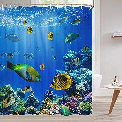 Fisch-Duschvorhang, blauer 3D-Ozean-Thema, tropische Fische, Koralle, Untersee, Korallenriff, blauer Duschvorhang, Ozean-Duschvorhang-Sets, Haken enthalten, 177,8 cm