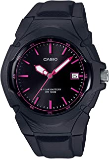 Women's Sporty Stainless Steel Quartz Watch with Resin Strap, Black, 15 (Model: LX-610-1A2VCF)