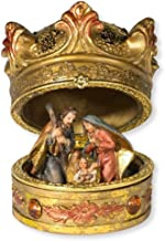 Autom Christmas Table Decoration Nativity Crown Box with Holy Family