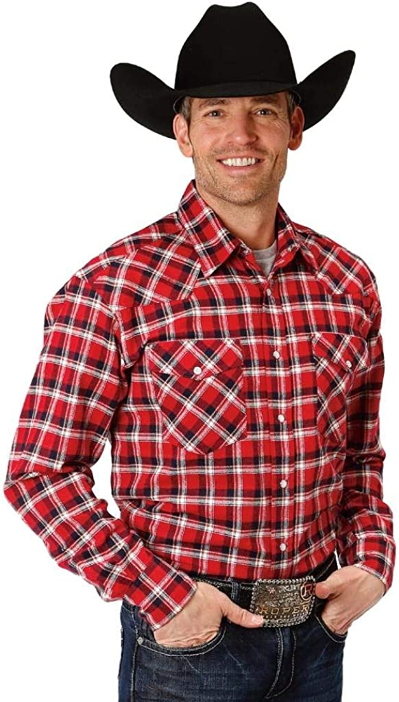 Roper Western Shirt Mens L/S Plaid Snap Blue 03-001-0722-5685 BU