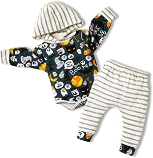 Newborn Baby Boy Girl Halloween Pumpkin Costumes Funny Romper Long Stripe Pants 2PCS Outfits Set