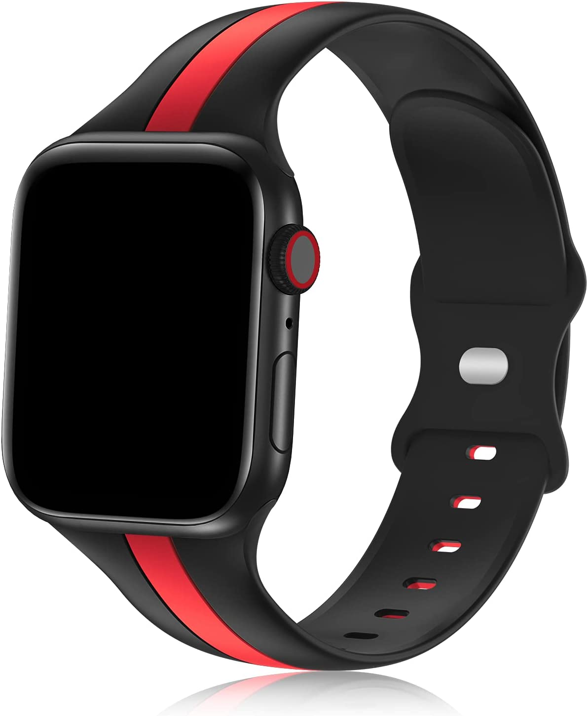 iWabcertoo Designer Sport Bands Compatible with Apple Watch Bands 42mm 44mm 45mm Women and Men,Soft Silicone Replacement Strap Bands for iWatch Series 7 6 5 4 3 2 1 SE Black Red