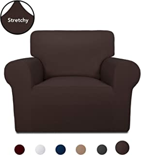 PureFit Super Stretch Chair Sofa Slipcover – Spandex Non Slip Soft Couch Sofa Cover, Washable Furniture Protector with Non Skid Foam and Elastic Bottom for Kids, Pets (Chair, Chocolate)