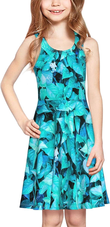 YhrYUGFgf Leafy Background Dress Girl's Soft Stretch Casual Skirt Tank Dress