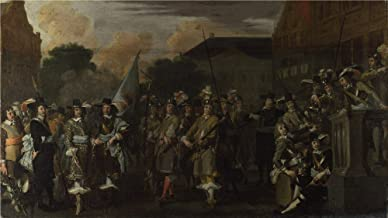 The Perfect Effect Canvas Of Oil Painting 'Dutch A Company Of Amsterdam Militiamen ' ,size: 18 X 32 Inch / 46 X 81 Cm ,this High Definition Art Decorative Prints On Canvas Is Fit For Game Room Decoration And Home Decor And Gifts