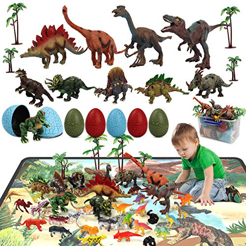HONYAT 38pcs Dinosaur Toy Figure with 6 Crack Dino Eggs, Play Rug & Trees, 12 Forest Animals, Educational Dinosaur Playset to Create a Dino World, Kids Toy for Toddlers Ages 3 4 5 6 7 8 9 10 Years