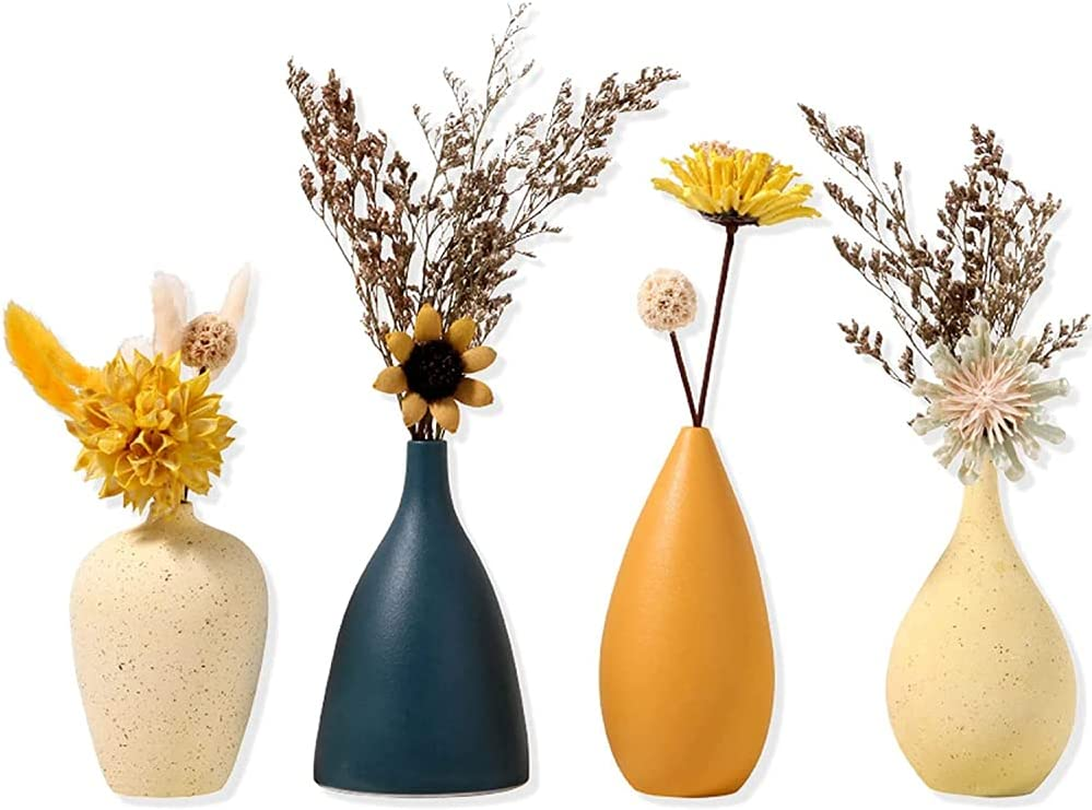 BERTY·PUYI Time sale Small Max 62% OFF Ceramic Vases for Flowers Set f Vase Decorative
