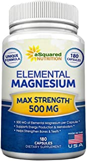 Elemental Magnesium Supplement - 180 Veggie Capsules - Max Strength Magnesium Citrate & Oxide 500 mg Formula, Mag Tablet P...