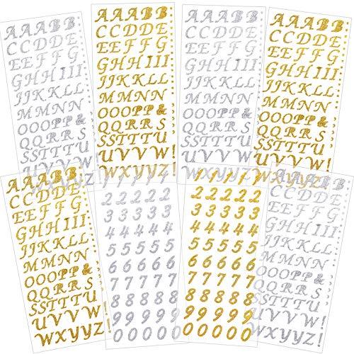 8 Feuilles Autocollants de Nombre de Paillettes Alphabet de Paillettes en Or et Argent Lettres Couleur Auto-Adhésif Estampage à Chaud Étiquettes de Lettres pour Bicolage Carte Artisanat
