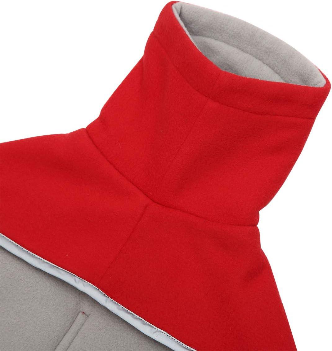 abrigo de invierno para perro con forro polar acolchado y cuello alto traje de nieve para perro con bandas ajustables Rojo Morezi Abrigo de perro perfecto para perros salchichas XL