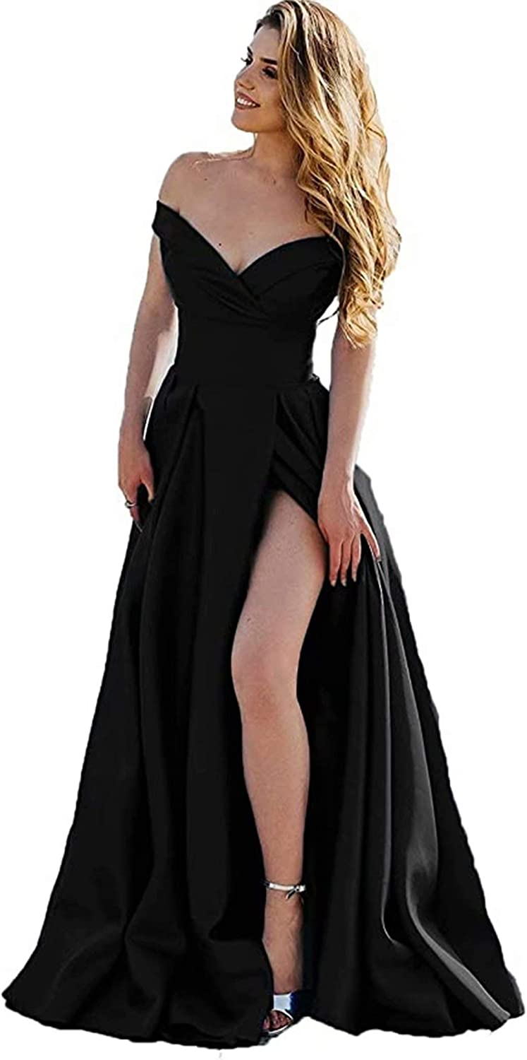 RIMOO Women's Off The Shoulder Prom Dresses with Slit Long Satin Formal Evening Party Gowns with Pockets