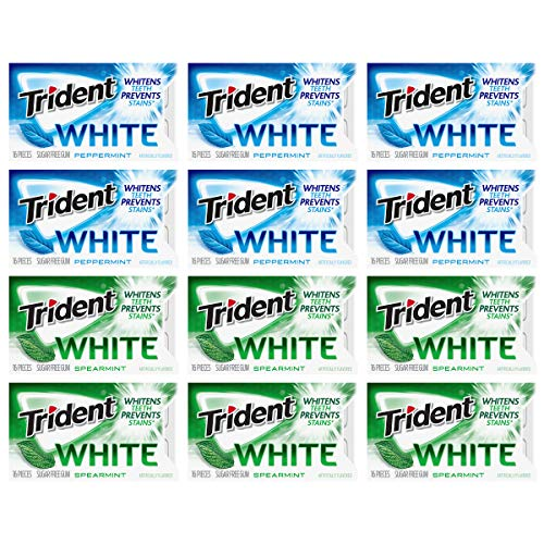 Trident White Sugar Free Gum Variety Pack, Peppermint & Spearmint Flavors, 12 Packs (192 Pieces Total), 18 Count (Pack of 1)