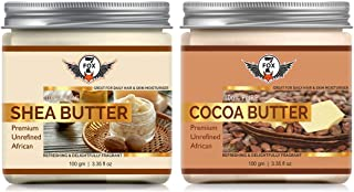 7 Fox Shea Butter And Cocoa Butter Raw | Unrefined | African | Great For Face, Skin, Body & Lips-Combo Pack (Each 100gm)
