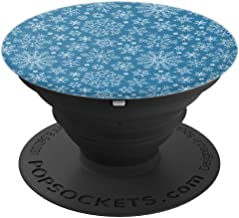 Winter White Snowflake Pattern on Teal Blue Background PopSockets Grip and Stand for Phones and Tablets
