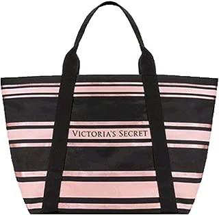 Victoria 's Secret Sparkle Tote Bag Stripe Black Pink Large