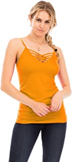 NANAVA Women's Seamless Lattice Front Adjustable Bra Strap Sleeveless Top