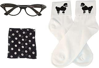 50s Costume Accessory Set Chiffon Scarf, Cat Eye Glasses and Bobby Socks for Women
