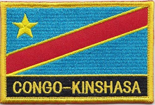 1000 Flags Kongo – Kinshasa-Flagge, bestickt, rechteckig, zum Aufnähen oder Aufbügeln