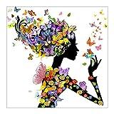 La Cabina 5D Peinture en Diamant DIY Point de Croix en Résine Décoration de Maison Salon Chambre - Femme aux Papillons (Entier en Diamant)