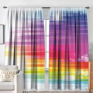 NUOMANAN Curtains for Bedroom Rainbow,Abstract Lines in Rainbow Formation with White Circles Movement Depiction Art Print,Multicolor,Insulating Room Darkening Blackout Drapes 54