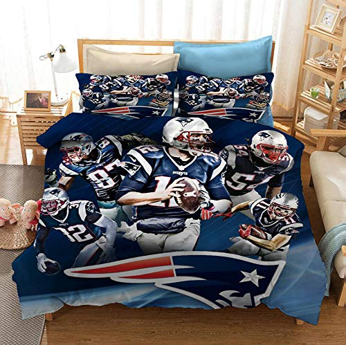 MOUPSDT 3D Printed Duvet Cover Blue rugby player Super King size Bedding Set Super Soft Microfiber 3 pcs 1 Duvet Cover 86.7 inch x 103 inch with 2 Pillow covers 50x75cm