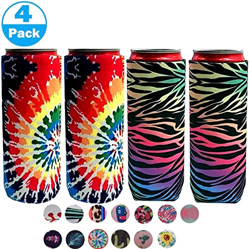 XccH2o Soft Neopren Slim Dosen Isolierung Slim Can Cover Beer Coozies for Dosen for 355 ml Energy Drink Bierdosen Red Bull White Claw & Seltzer Water Bunt – 4 Jahre.