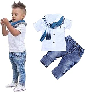 3Pcs Kids Clothing Boys Casual Short Sleeved Shirt + Denim Jeans Toddler Boy Summer Outfit Set