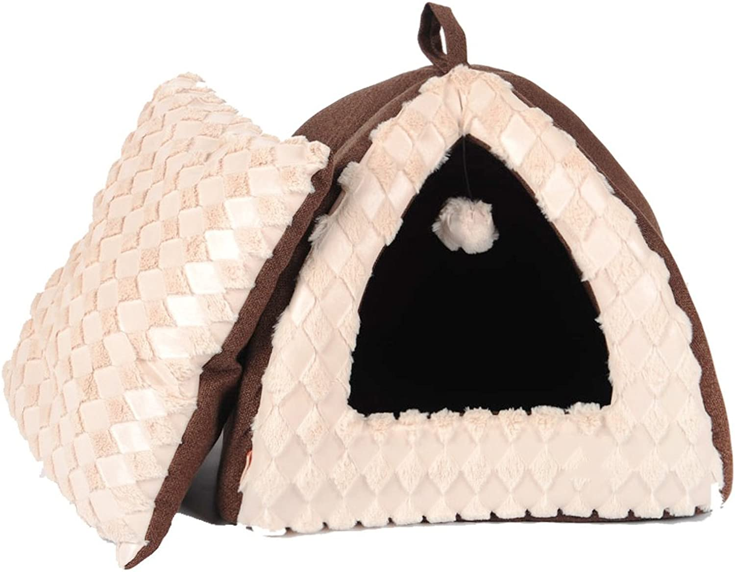 KTYX Warm Closed Portable Foldable Cat Tent Cat House with Small Ball S  40X40X34cm,M 45X45X38cm Pet Bed (Size   S)