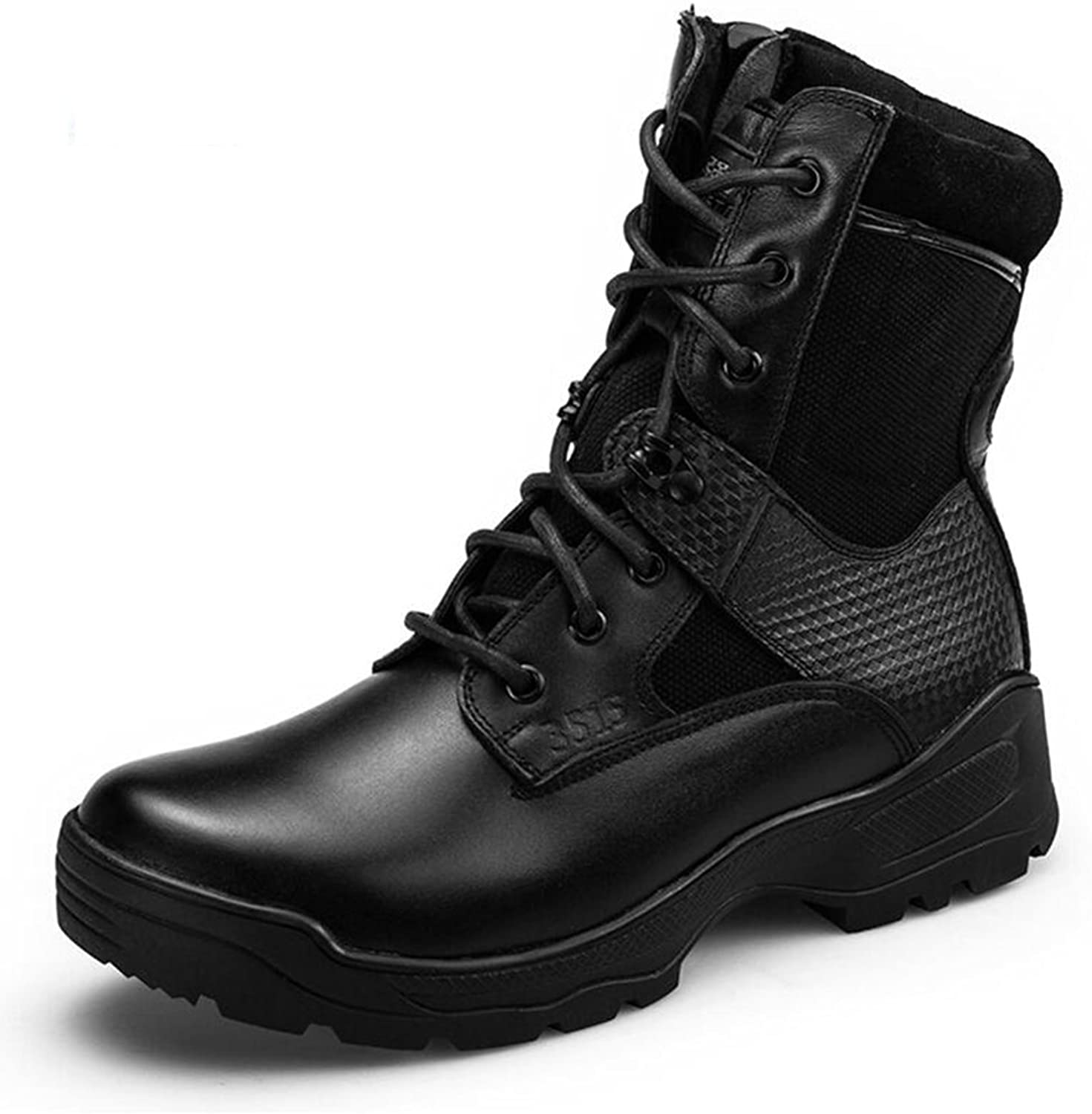 SUNNY Spring and Autumn Breathable PU Outdoor Hiking Boots Army Boots Special Forces Boots Black Safety (Size   EU42 UK8.5 CN43)
