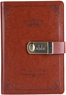 ABBER Journal with Lock, PU Leather Combination Lock Journal Medium Size for Men/women Daily Use Gift Password Diary with Combination Lock Stationery Student Handbook Notepad (Brown)