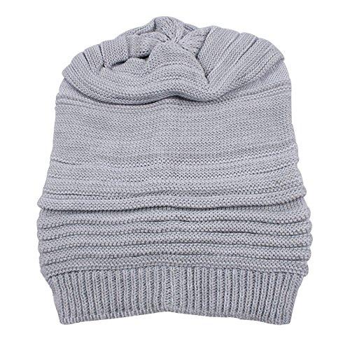 Plissee Hüte, Herren Und Damen Herbst Und Winter Warme Wollmützen, Strickmützen 27 * 23Cm Weiße Asche