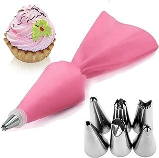 AukCherie Boquillas para repostería, 8 Piezas, de Acero Inoxidable, 6 boquillas, 1 Bolsillo para repostería, 1 acoplador, DIY Kits para decoración de Tartas (Pink2)