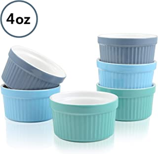 Ramekins 4oz Set of 6 Oven Safe Souffle Dishes Porcelain Ramekins Bright Colored Ceramic Round Souffle Dish for Souffle, Creme Brulee, Ice Cream, Baking, Cooking