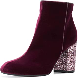 XYD Women Round Toe Glitter Chunky High Heels Party Dress Booties Velvet Winter Ankle Boots