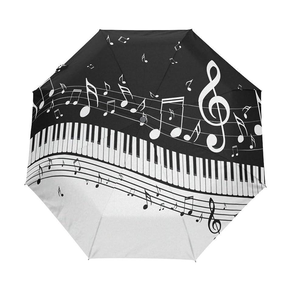 メッセンジャークロールウィンク折り畳み傘 自動開閉 超軽量 音符柄 ピアノ柄 音楽柄 ブラック 日傘 折りたたみ 晴雨兼用 かわいい 丈夫な8本骨 おしゃれ レディース UVカット 遮光効果 耐風撥水 収納ポーチ付き