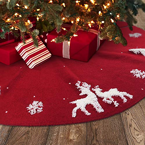 Meriwoods 3D Knit Tree Skirt 48 Inch, Chunky Knitted Tree Collar for Country Rustic Christmas Decorations, Burgundy Red & Cream White