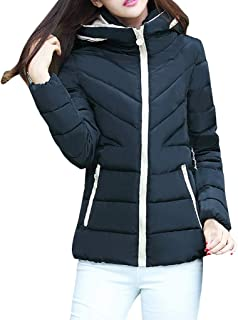 iHHAPY Ladies Short Winter Jacket Quilted Jacket Winter Coat Transition Jacket Warm Coat Thick Hooded Zipped Jacket