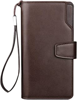 Men's long PU leather wallet, casual simple long clutch with wrist strap, zipper credit card case wallet, 20 * 10 * 3CM (C...