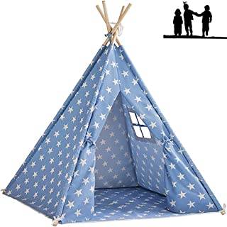 Gluckluz Teepee Tent Kids Play House Indian Toddler Indoor Foldable Canvas 4 Pole Home for Girls Boys Outdoor Camp Play (B...