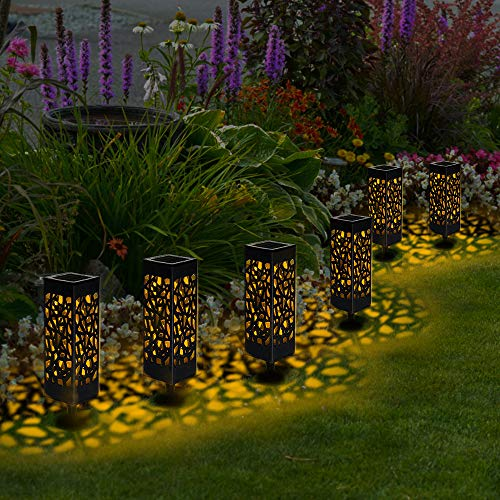Vivibel Solarleuchte Garten, 【6 Pack】 warmweiße Solar Licht Garten Dekoration wasserdichte Solarlampen für außen, Garten, Patio, Rasen