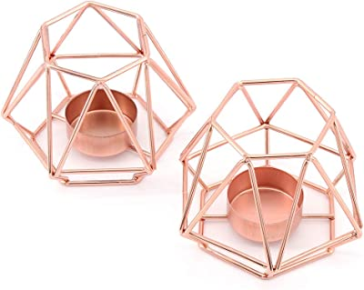 MoYouno 2Pcs Metal Tea Light Candle Holder Set, Hollow Iron Decorative Candle Lanterns Holder, Home Ornament for Living Room, Wedding, Party, Rose Gold