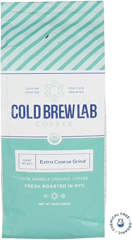 Cold Brew Lab Ground Organic Coffee Crafted For Cold Brewing Extra Coarse Grind Size Dark Roast 1 LB Bag