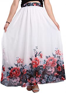 480a63ae40 Afibi Women Full Ankle Length Blending Maxi Chiffon Long Skirt Beach Skirt