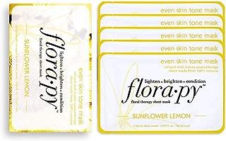 Florapy Beauty Even Skin Tone Sheet Aromatherapy Mask, Sunflower Lemon, 5 Count